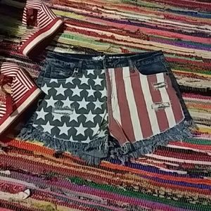 Flag inspired high rise shorts
